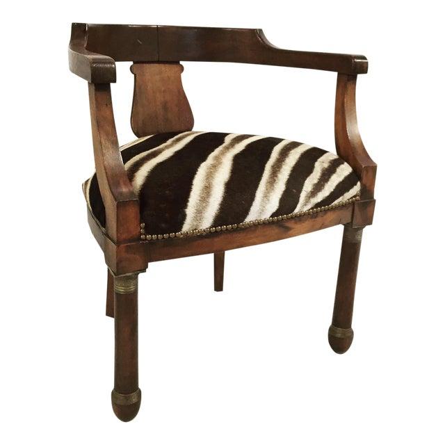 Walnut Zebra Seat Barrel Chair - Image 1 of 5