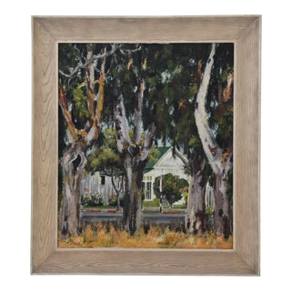 1950s Dorothy Neal, Cottage and Grove of Trees Landscape Oil Painting