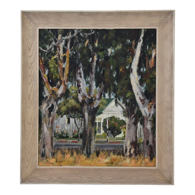 1950s Dorothy Neal, Cottage and Grove of Trees Landscape Oil Painting For Sale