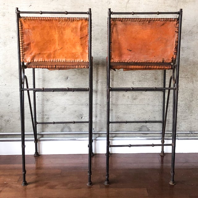 Boho Chic 1970s Vintage Iron & Leather Brutalist Bar Stools by Ilana Goor (2 Available) For Sale - Image 3 of 7