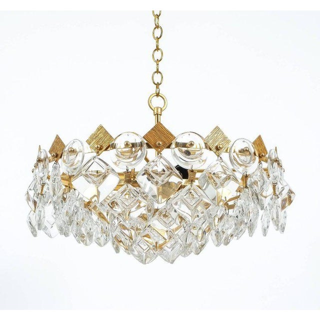Petite Gilded Brass and Glass Chandelier Lamp by Palwa, 1970 For Sale - Image 6 of 8