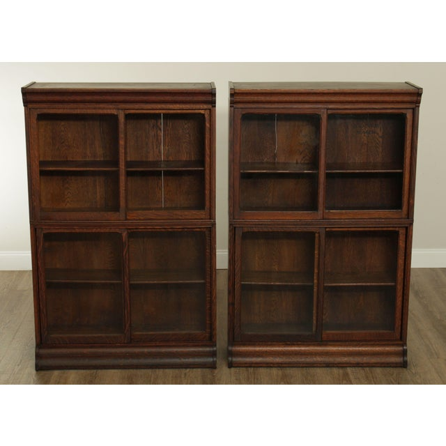 Traditional Danner Antique Oak Stacking Sliding Door Bookcases (B) - a Pair For Sale - Image 3 of 13