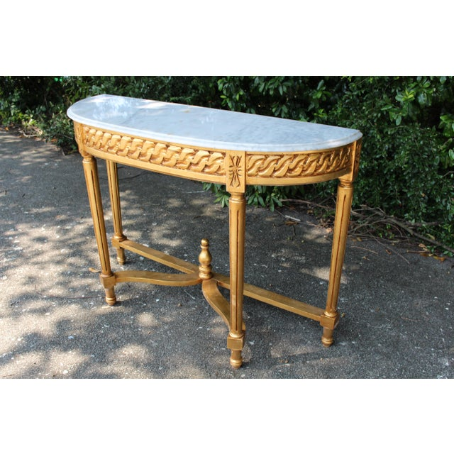 French Late 20th Century Vintage French Demi-Lune Table For Sale - Image 3 of 10