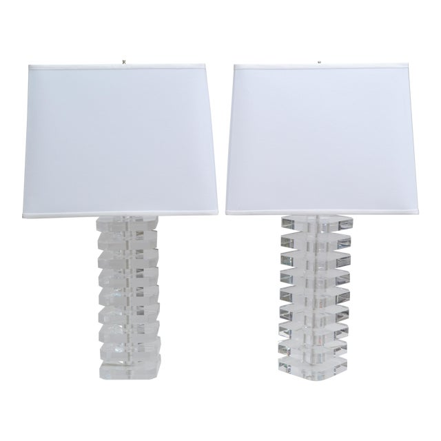 Pair of Stacked Lucite Table Lamps For Sale - Image 11 of 11