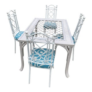 White Bamboo Dining Table & 4 Chairs For Sale