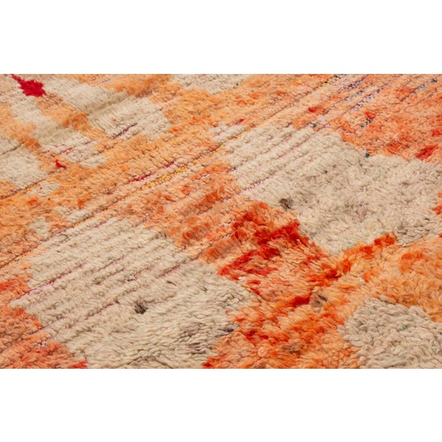 Contemporary Contemporary Moroccan Berber Geometric Wool Pile Rug - 3′8″ × 7′3″ For Sale - Image 3 of 6