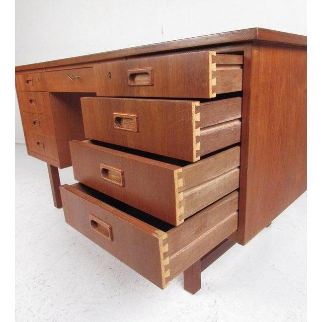 Mid-Century Modern Danish Modern Teak Double Pedestal Desk For Sale - Image 3 of 11