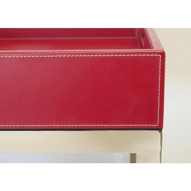 Hollywood Regency Red Leather and Stainless Steel Tray Table by Fabio Ltd For Sale - Image 3 of 7