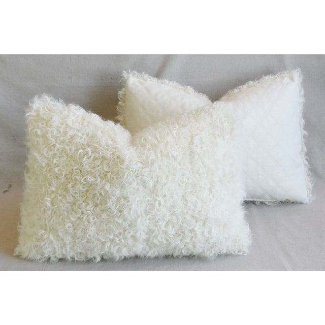 "Ivory Natural Kalgan Curly Lambswool Fur Pillows 21 X 15"" - Pair For Sale - Image 11 of 13"