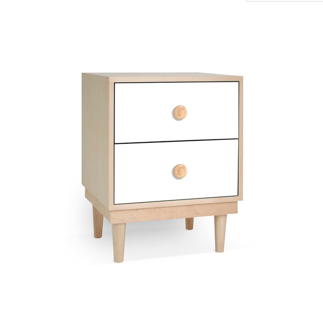 Contemporary Lukka Modern Kids 2-Drawer Nightstand in Maple With White Finish For Sale - Image 3 of 3