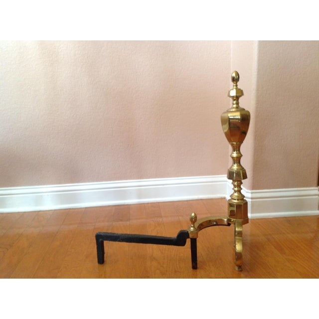 20th Century Traditional Brass Fireplace Andirons - a Pair For Sale In Austin - Image 6 of 12