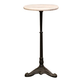 Early 20th Century French Iron Martini Pedestal Table With Round Marble Top For Sale