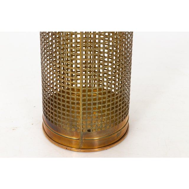 Solid Brass Basket Weave Umbrella Stand For Sale - Image 4 of 6