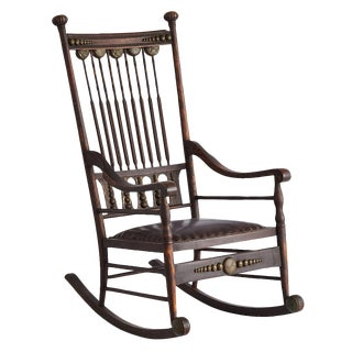 Ornamented Oak Rocking Chair With Green Man Motif Circa 1890s