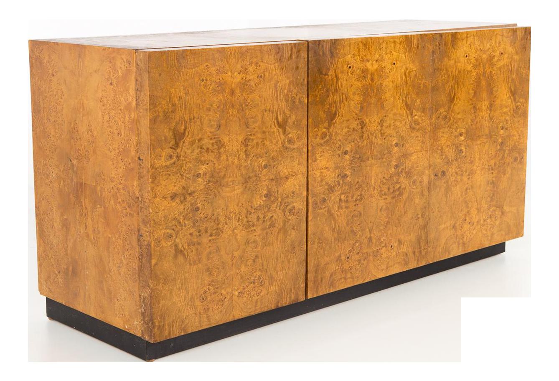 Mid Century Milo Baughman Burlwood Buffet Sideboard Credenza For Sale