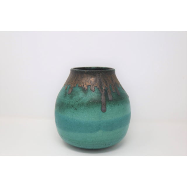 Mid 20th Century Teal Vase With Brown Rim, Signed For Sale - Image 5 of 5