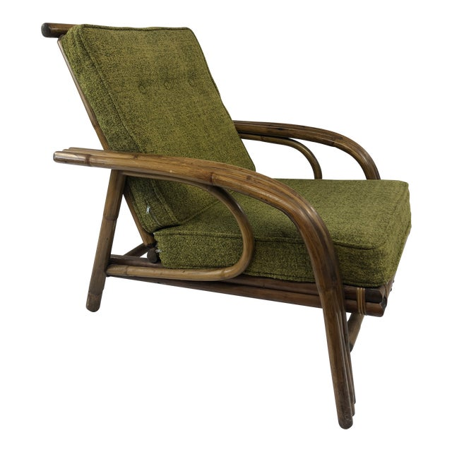 Mid Century Boho Chic Bamboo Lounge Chair With Green Upholstery For Sale