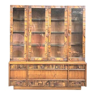 1970s Lane Brutalist Buffet With Hutch For Sale