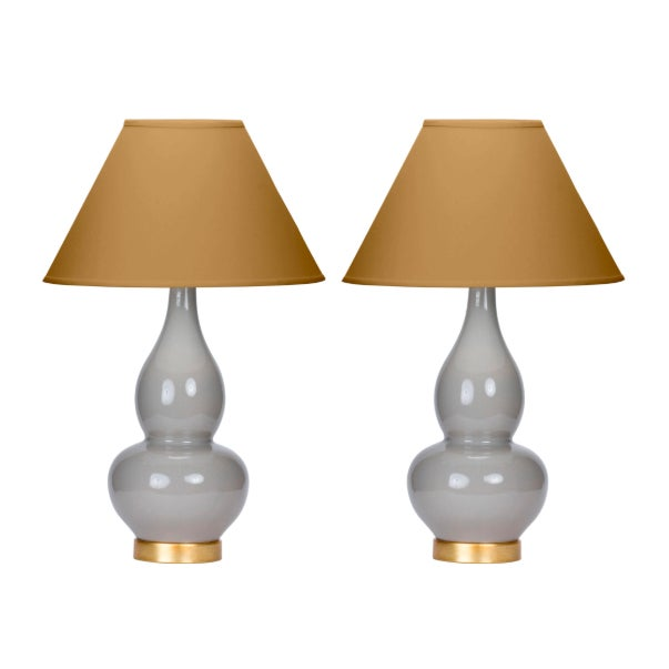 Casa Cosima Double Gourd Table Lamp, Dove Craquelure/Mystic Gold Shade - a Pair For Sale In Los Angeles - Image 6 of 6