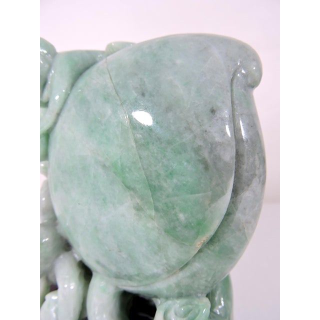 20th Century Chinese Natural Green Jadeite Carving of Peach With Playful Monkeys For Sale - Image 9 of 12