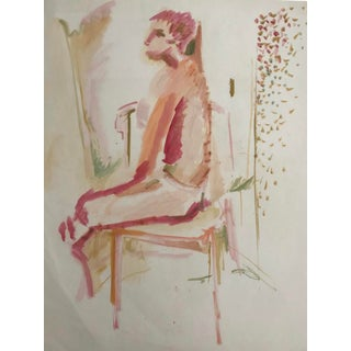 1950s Vintage Robert Colborne Seated Female Nude Painting For Sale