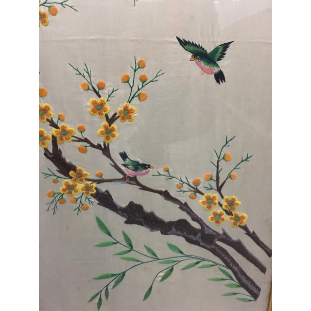 Green Vintage Mid-Century Chinese Embroidered Rooster and Bird Panels - A Pair For Sale - Image 8 of 11