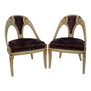 Michael Taylor for Baker Furniture Spoon Back Chairs - A Pair For Sale