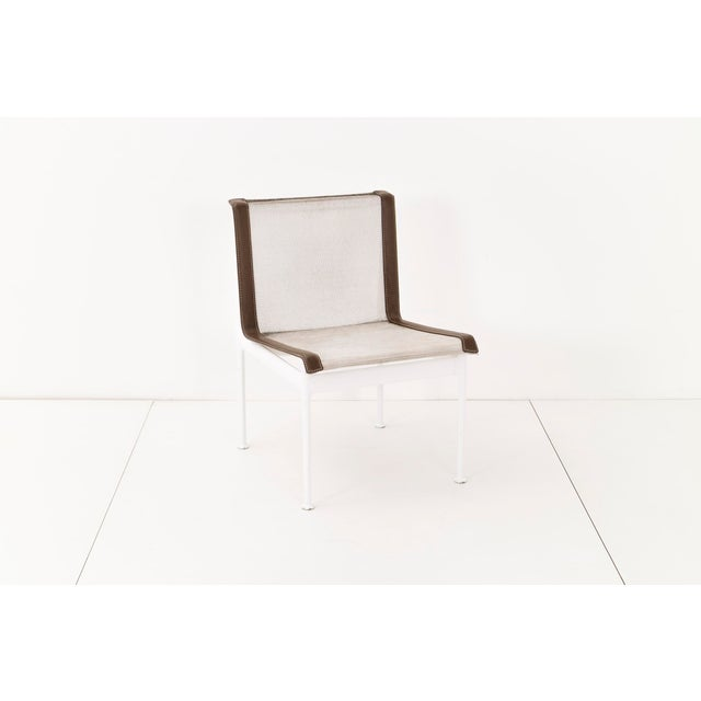 Richard Schultz 1966 series Knoll. Set of four outdoor dining chairs Model No. 1966-46-H. Seat and back are woven vinyl...