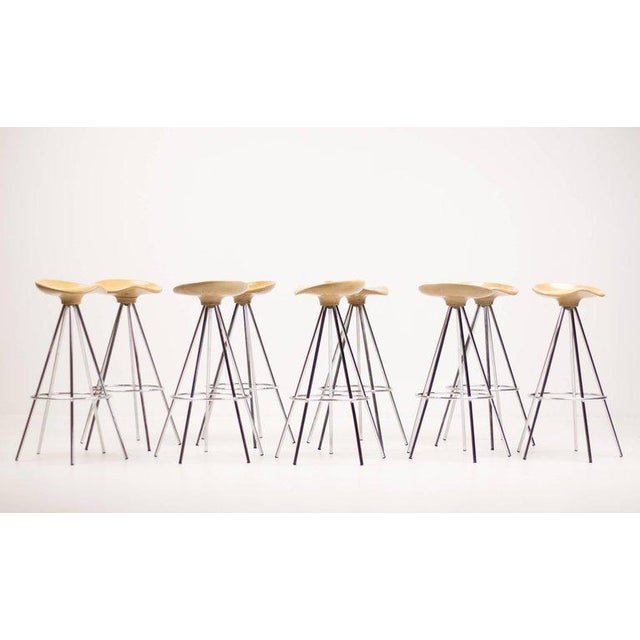 """Jamaica"" Bar Stools by Pepe Cortés with Solid Beech Seats For Sale - Image 6 of 6"