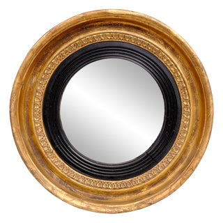 Antique English Small Regency Convex Mirror For Sale