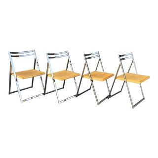 Late 20th Century Chrome and Cane Folding Chairs- Set of 4 For Sale