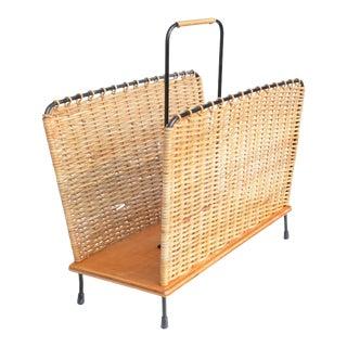 1960s Modernist Danish Wicker Newspaper Holder Basket For Sale