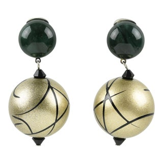 Angela Caputi Dangling Clip on Earrings Dark Green and Pale Gold Resin For Sale