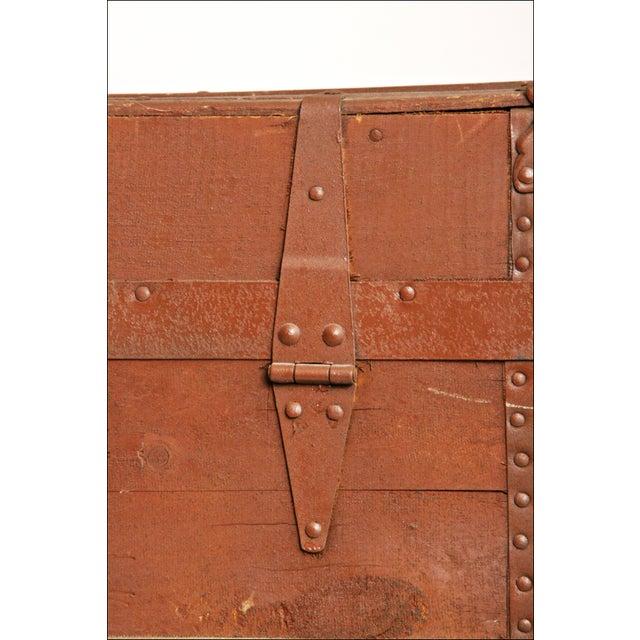 Vintage Brown Wood Steamer Trunk - Image 7 of 11