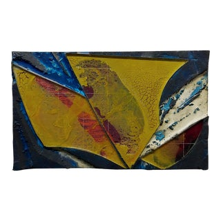 Laddie John Dill Untitled Abstract With Yellow Mixed Media Painting For Sale