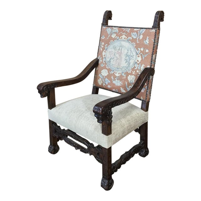 19th Century Spanish Armchair With Needlepoint Tapestry For Sale
