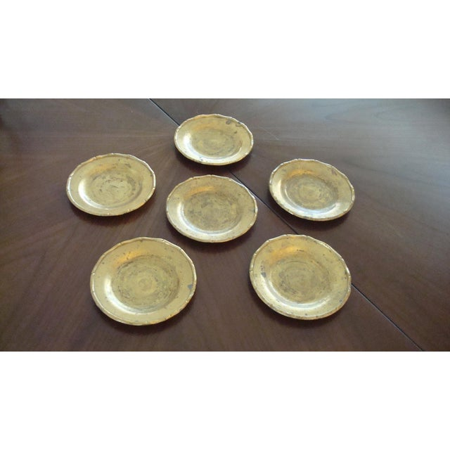 Vintage Brass Bamboo Style Coasters - Set of 6 - Image 2 of 6