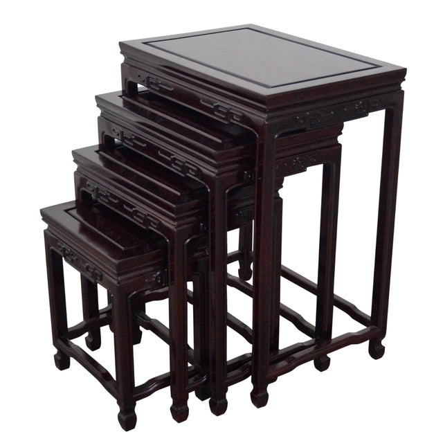 Chinese Rosewood Nesting Tables - Set of 4 For Sale