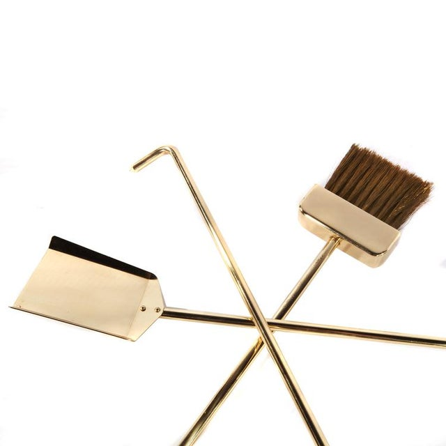 1970's VINTAGE BRASS AND GLASS FIREPLACE TOOL SET For Sale - Image 9 of 11