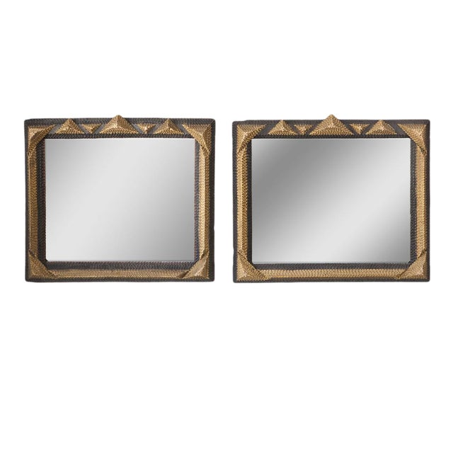 Gold and Black Tramp Art Mirrors - A Pair For Sale