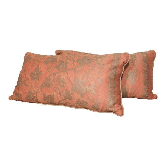 Fortuny Orange & Silver Lumbar Pillows - A Pair For Sale
