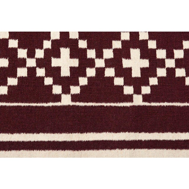 Flatwoven Dhhurie Brick Red Graphic Rug 3' X 5' - Image 3 of 3