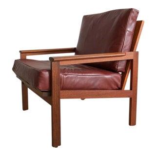 Mid-Century Danish Teak & Leather Arm Chair
