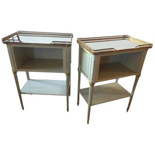 Pair Louis XVI Style Paint Decorated End Tables Mirrored Tops by Maison Jansen