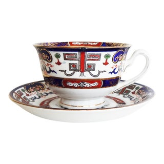 Early 20th Century Vintage English Imari Bone China Teacup and Saucer For Sale