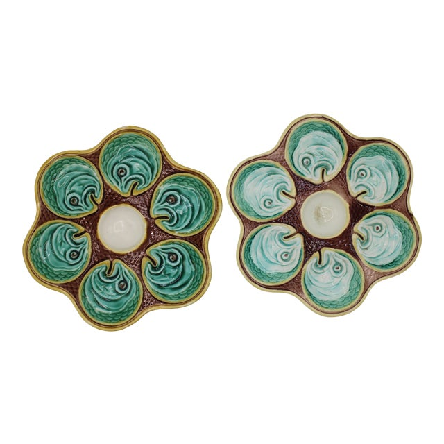 Antique Wedgewood Majolica Ceramic Oyster Plates For Sale