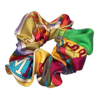 Hermes Handmade Vintage Silk Scarf Scrunchie in Green and Rainbow Print For Sale