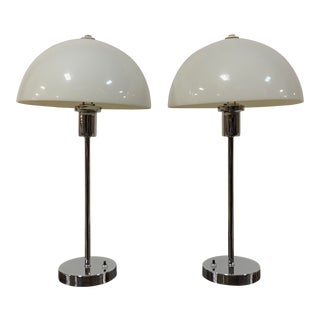 1960s Nessen Chrome Table Lamps With White Dome Shades - a Pair For Sale