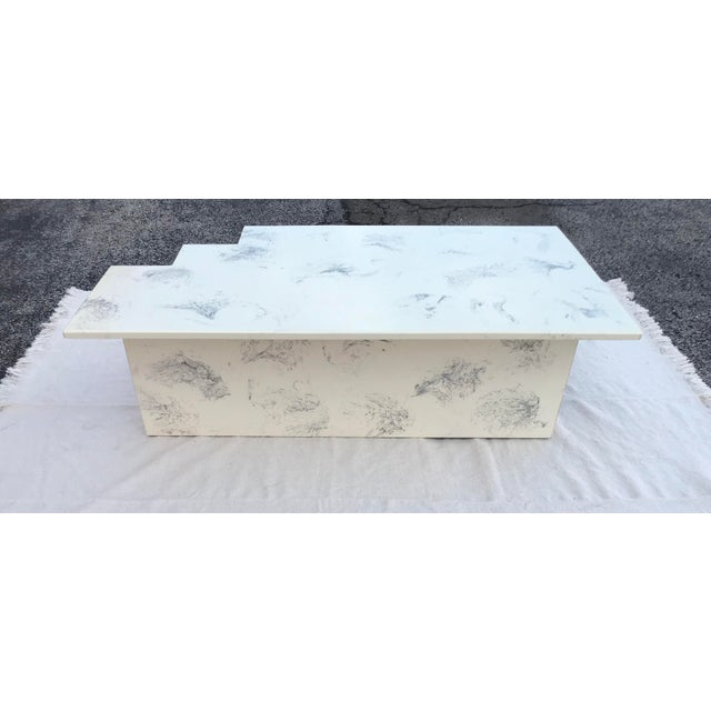 Vintage Postmodern Geometric Shaped Marble Coffee Table For Sale In Chicago - Image 6 of 13