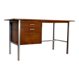 Mid-Century Modern Paul McCobb for Calvin Walnut Wood Desk with Two Drawers
